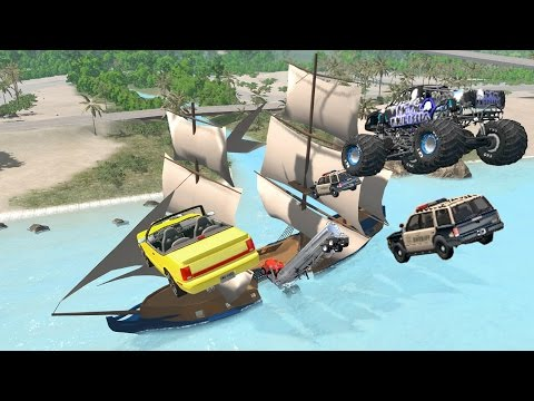 BeamNG drive - Sailing Ship Assaulted by Cars and Trucks
