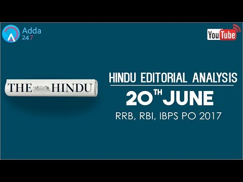 The Hindu Editorial Analysis - 20th June 2017 - Online Coaching for SBI, IBPS Bank PO