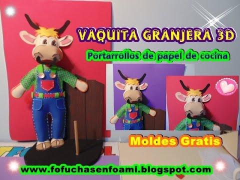 VAQUITA GRANJERA 3D EN FOAMI O GOMAEVA PARA LA COCINA - YouTube