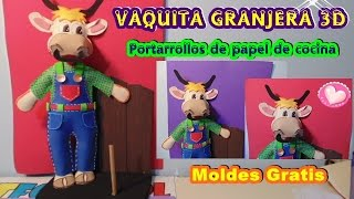 VAQUITA GRANJERA 3D EN FOAMI O GOMAEVA PARA LA COCINA