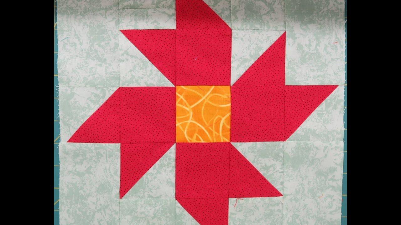 Quilt Block: Christmas Star Flower - YouTube : christmas star quilt block - Adamdwight.com