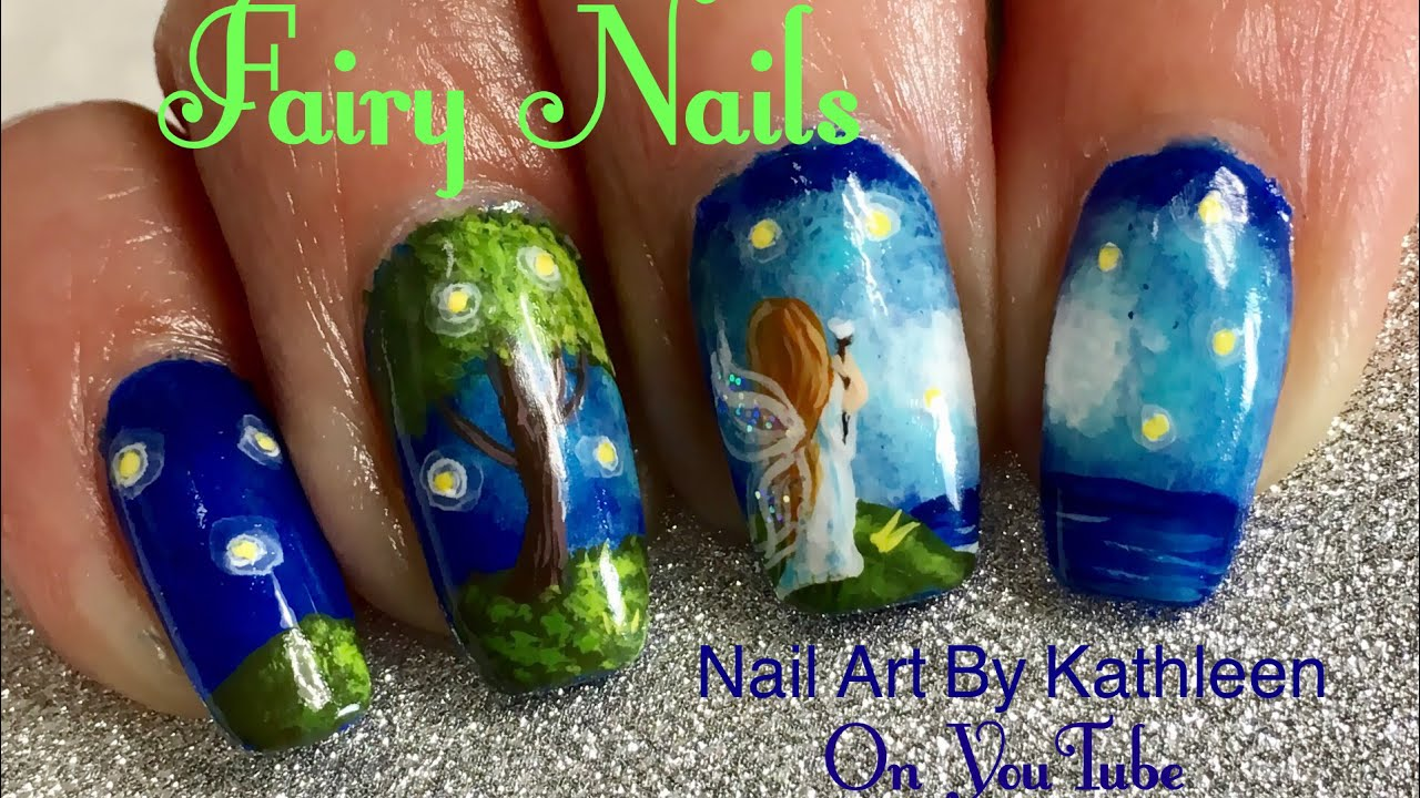Fairy Nails Inspired Freehand Nail Art Tutorial Youtube