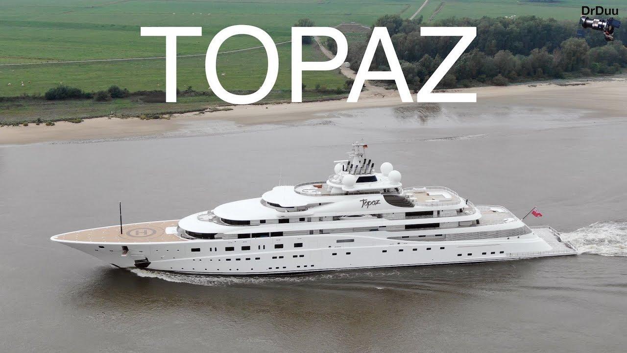 Aerial 4k Yacht Topaz Arrival At Lurssen Shipyard