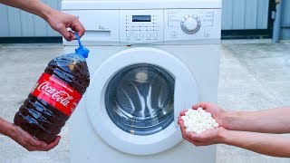 Experiment Coca Cola Mentos  vs  Washing Machine