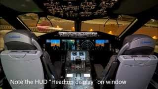 Qatar Airways Boeing 787 Dreamliner startup, takeoff, landing sounds and onboard feature