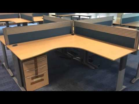 paragon office furniture desks in maple with matching storage units youtube