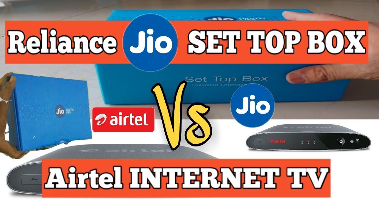 Airtel internet tv Vs Reliance Jio set top box   JIO,airtel set top box  unboxing review