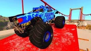 машинки прыгают с трамплина через разрушенный мост - Мультик игра для мальчиков