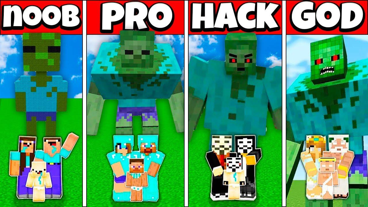 ZOMBIE MUTANT BUILD CHALLENGE - NOOB vs PRO vs HACKER vs GOD Minecraft Animation