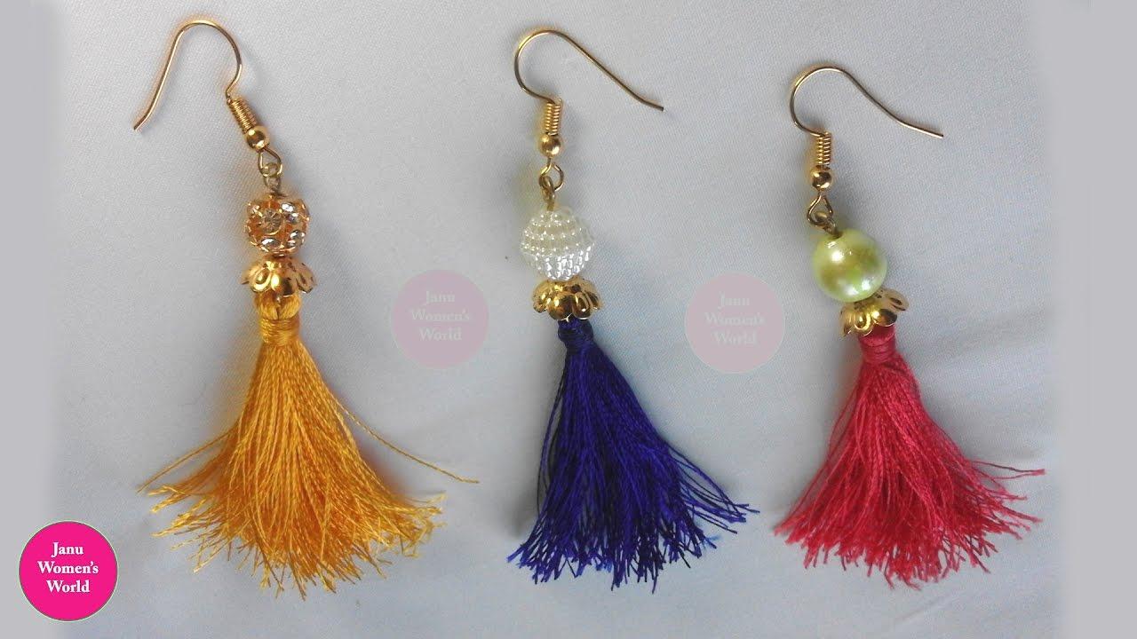 Diy Tel Earrings Making Easy With Silk Thread Tutorial