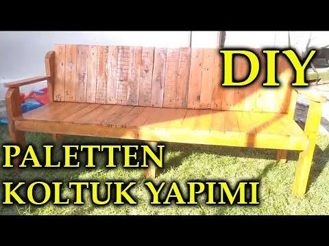 DIY - MAKE WOODEN SOFA FROM PALLET - PALETTEN KOLTUK YAPIMI