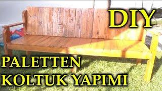 DIY MAKE WOODEN SOFA FROM PALLET PALETTEN KOLTUK YAPIMI