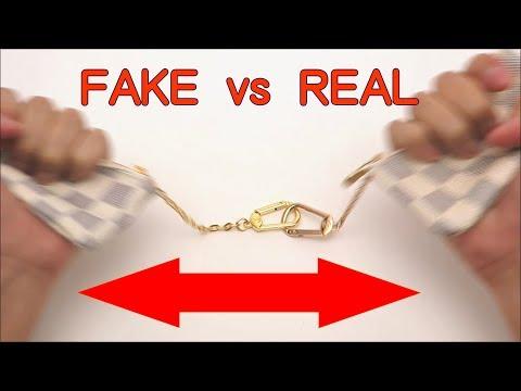 FAKE vs REAL. Louis Vuitton Damier AZUR Key Chain Coin Purse