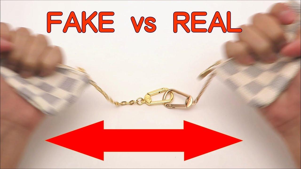 a78e21119dc8 FAKE vs REAL. Louis Vuitton Damier AZUR Key Chain Coin Purse - YouTube
