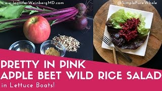 Pretty in Pink Apple Beet Wild Rice Salad in Lettuce Boats Recipe Gluten-Free, Vegan, Sugar-Free