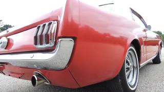 1965 mustang red coupe white top for sale at www coyoteclassics com