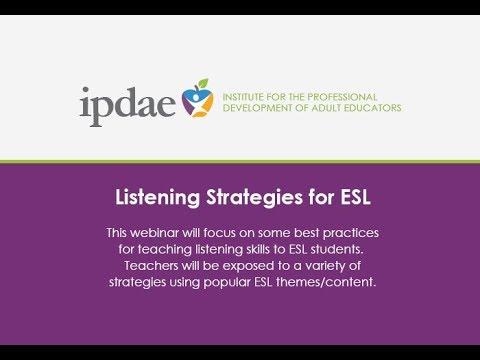 Listening Strategies For ESL (Webinar)