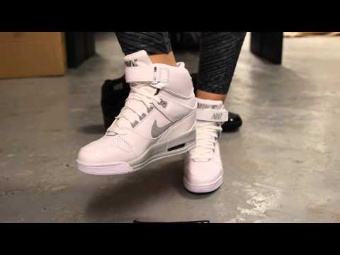 "Wmns Nike Air  Revolution Sky Hi  ""White/Silver"" - On Feet Video @ Exclucity"