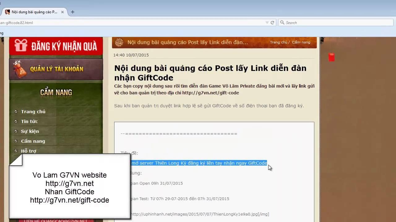 [Võ Lâm G7] Hướng dẫn đăng bài quảng cáo nhận GiftCode Võ Lâm Truyền Kỳ 1