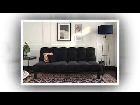 Dhp Hamilton Estate Premium Futon Sofa Sleeper Comfortable Plush Microfiber Upholstery Rich Black