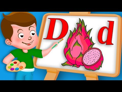 Drawing Alphabet D for Dragon fruit Drawing Paint And Colouring For Kids Kids Drawing TV