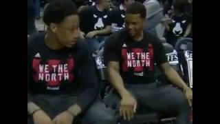 Milwaukee Bucks playing the Barney song during the Raptors intro