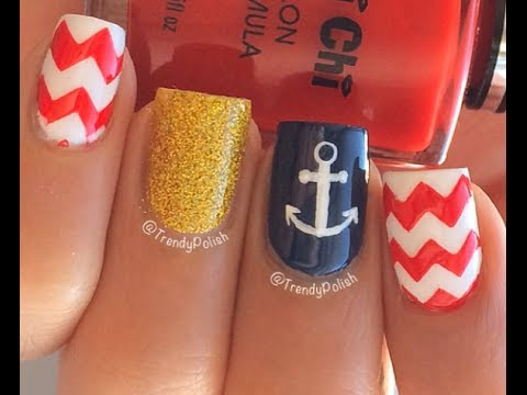 Nautical Nail Art Tutorial (Anchor + Chevrons) - YouTube