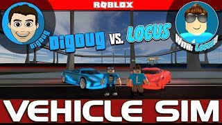Roblox Vehicle Simulator DigDug vs. BlueLocus in Rocket League style car soccer! Collab with Locus!