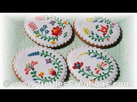 Easter egg cookies with Hungarian folk art flowers