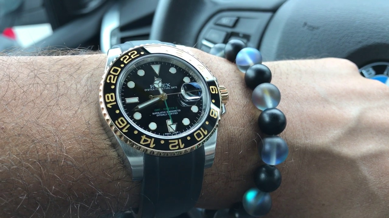 Rolex 116713ln Gmt Master Ii In 18k Ss W Everest Band