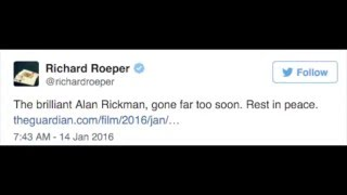 Celebrity Twitter Reactions to Alan Rickman's Death