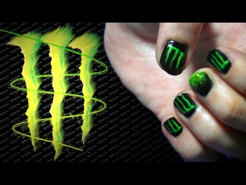 monster energy drink nail art diy