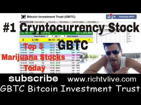 Top Cryptocurrency stock of 2018 GBTC Bitcoin Investment Trust 9.9% Bitcoin - Top 5 Marijuana stocks