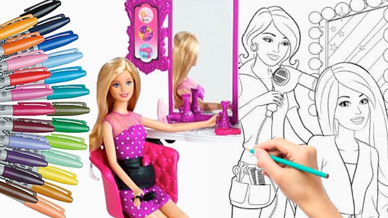 Coloring Barbie Girl Doll Hair Salon Mewarnai Barbie Putri Duyung