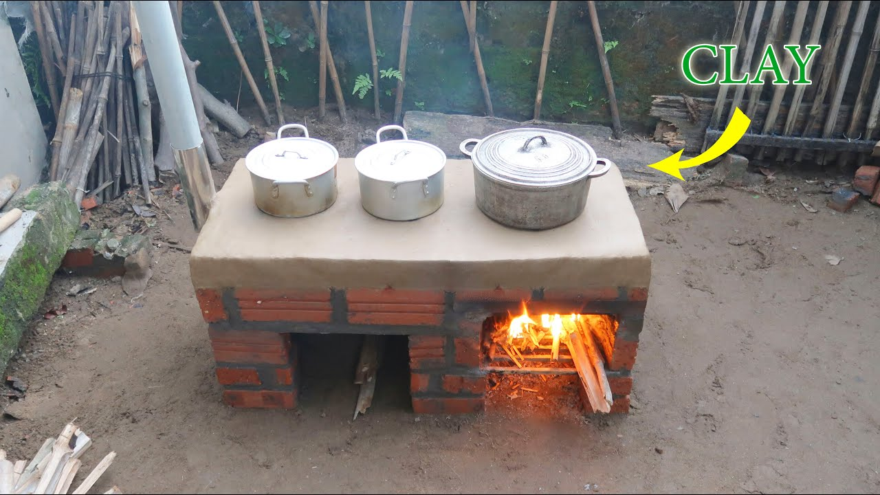 Build a simple wood stove from cement - sand - clay at home