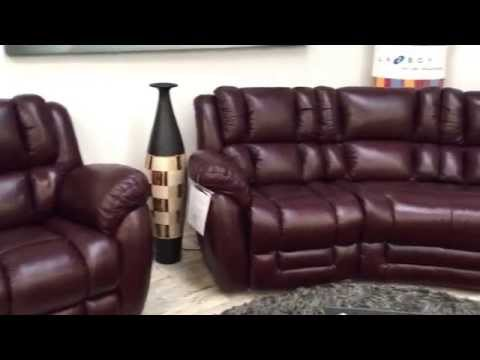 La-z-boy Augusta curve corner and recliner chair in Bordeaux beautiful leather