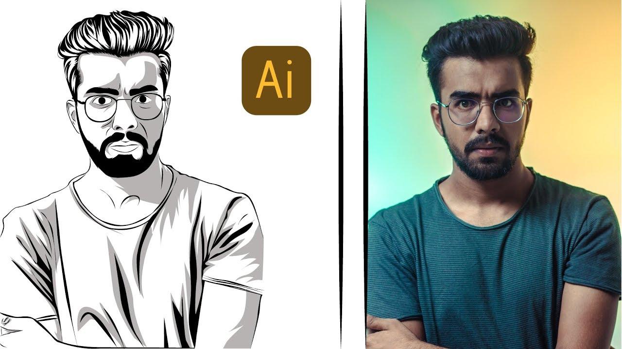 Man Vector | tutorial line art Adobe Illustrator CC 2019