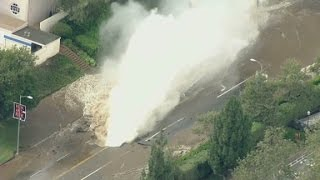 Water main break floods streets around UCLA