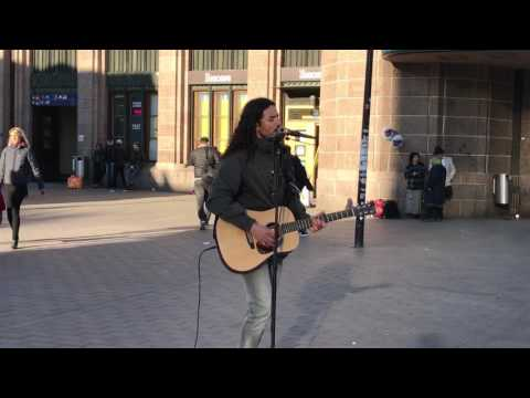 "Street music. Amazing voice. ""Let her go"". Central railway station. Helsinki 2017"