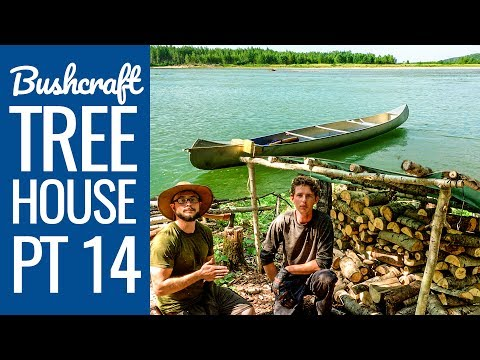 Bushcraft Treehouse 14: Sledgehammer, Wood Shelter, Foraging & Exploring Beyond the River