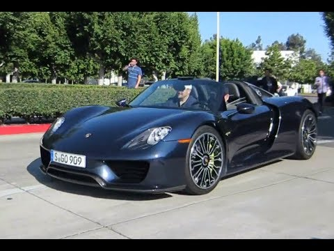 porsche 918 spyder at cars coffee with driving startup revs youtube. Black Bedroom Furniture Sets. Home Design Ideas