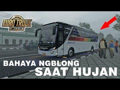 Jarak Pandang Minim Saat Hujan, Sinjay Hampir Mengalami Crash - ETS 2 Mod Indonesia - 동영상