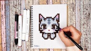 Рисуем Котёнка Рисунки По Клеточкам КАК НАРИСОВАТЬ PIXEL ART Kitty Cat