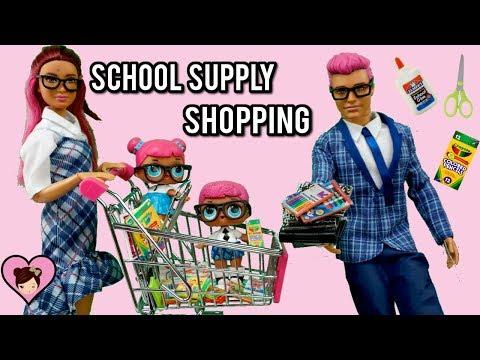 LOL Teachers Pet Family Goes School Supply Shopping - Barbie Supermarket Toy