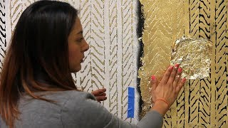 How to Stencil Textured Walls with Embossing Rollers, Gold Leaf, and Wall Stencils