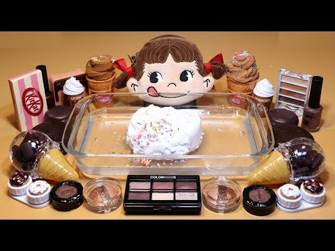 "Theme Series #8""Chocolate""Mixing EYESHADOW And Clay Into Clear Slime! ""ChocolateSilme"""
