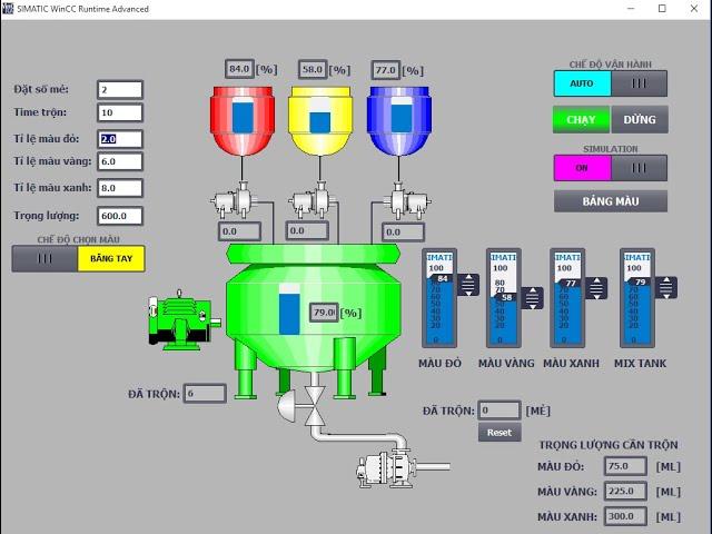 Hướng dẫn lập trình scada pha màu tự động - S71200 + Tia portal