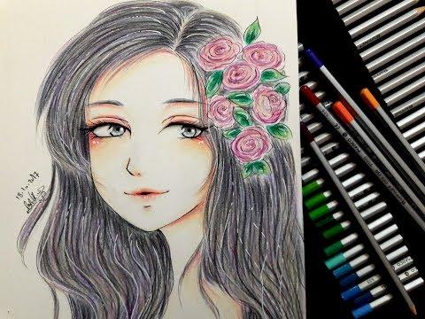 رسم فتاة أنمي وتلوينها بالألوان الخشبية Anime Drawing Youtube