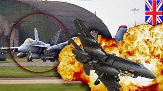 美戰鬥機墜毀英國 機身成火球