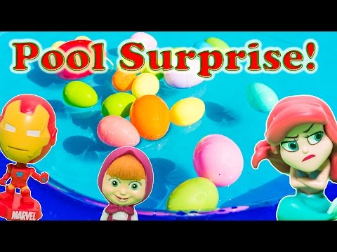 Fishing for Mickey Mouse and Masha surprise Eggs in a Pool